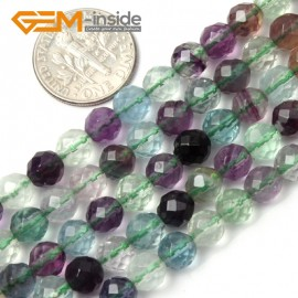 "G1977 6mm Natural Round Faceted Gemstone Fluorite Beads Jewelry Making Stone Beads 15"" Natural Stone Beads for Jewelry Making Wholesale`"