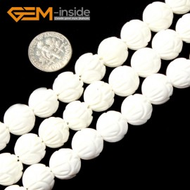 "G2007 12mm-Carved  Flower Carved White Shell Beads Gemstone Beads DIY Jewelry Making Beads 15"" Natural Stone Beads for Jewelry Making Wholesale`"