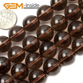 "G2036 14mm Natural Round Gemstone Smoky Quartz Beads Jewelry Making Stone Loose Beads 15"" Natural Stone Beads for Jewelry Making Wholesale`"