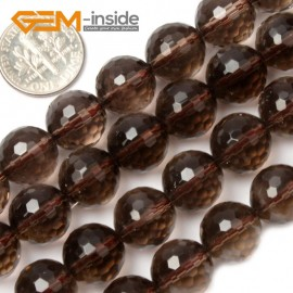 "G2045 12mm Faceted Natural Smoky Quartz Round Loose Beads Strands 15"" Jewelry Making 4-18mm Natural Stone Beads for Jewelry Making Wholesale`"