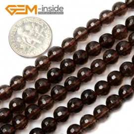 "G2048 6mm Faceted Natural Smoky Quartz Round Loose Beads Strands 15"" Jewelry Making 4-18mm Natural Stone Beads for Jewelry Making Wholesale`"