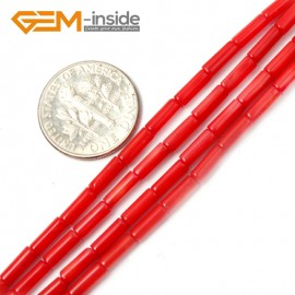 "G2166 3x10mm Column Red Coral Beads Jewelery Making Gemstone Beads Loose Beads Strand 15"" Natural Stone Beads for Jewelry Making Wholesale"