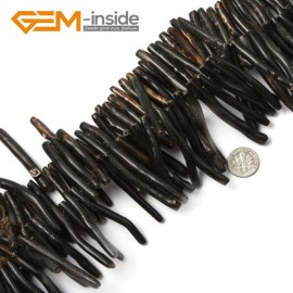 "G2185 5-7x40-50mmBlack Branch Black/Gold Coral Gemstone Loose Beads Strand 15""Jewelery Making Beads Natural Stone Beads for Jewelry Making Wholesale`"