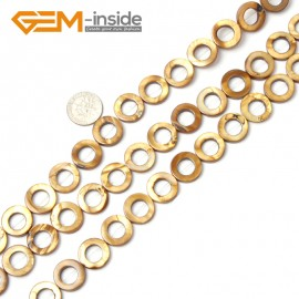 "G2292 brown(15mm) Round Ring Gemstone Shell Loose Beads Strand 15"" Jewelery Making Beads Gbeads Natural Stone Beads for Jewelry Making Wholesale"