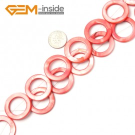 "G2301 red (25mm) Round Ring Gemstone Shell Loose Beads Strand 15"" Jewelery Making Beads Gbeads Natural Stone Beads for Jewelry Making Wholesale"