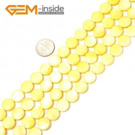"G2333 yellow/11mm Coin Gemstone Sea Shell Jewelery Making Loose Beads Strand 15"" Pick Colors &Size Natural Stone Beads for Jewelry Making Wholesale"