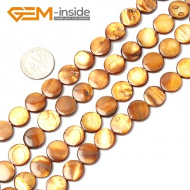 "G2336 brown/11mm Coin Gemstone Sea Shell Jewelery Making Loose Beads Strand 15"" Pick Colors &Size Natural Stone Beads for Jewelry Making Wholesale"