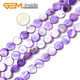 "G2337 purple/11mm Coin Gemstone Sea Shell Jewelery Making Loose Beads Strand 15"" Pick Colors &Size Natural Stone Beads for Jewelry Making Wholesale"