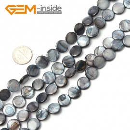 "G2338 black/11mm Coin Gemstone Sea Shell Jewelery Making Loose Beads Strand 15"" Pick Colors &Size Natural Stone Beads for Jewelry Making Wholesale"
