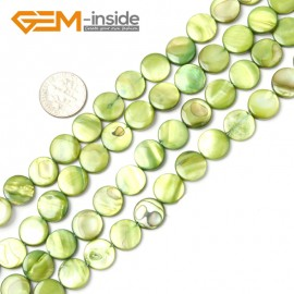 "G2340 light green/11mm Coin Gemstone Sea Shell Jewelery Making Loose Beads Strand 15"" Pick Colors &Size Natural Stone Beads for Jewelry Making Wholesale"