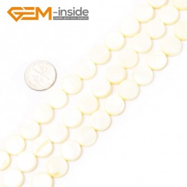 "G2341 light yellow/11mm Coin Gemstone Sea Shell Jewelery Making Loose Beads Strand 15"" Pick Colors &Size Natural Stone Beads for Jewelry Making Wholesale"