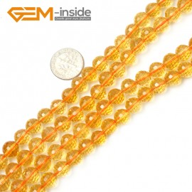 "G2357 8mm Round Faceted Gemstone Citrine Loose Beads strand 15"" Free Shipping Natural Stone Beads for Jewelry Making Wholesale"