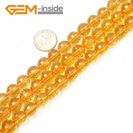 "G2358 10mm Round Faceted Gemstone Citrine Loose Beads strand 15"" Free Shipping Natural Stone Beads for Jewelry Making Wholesale"