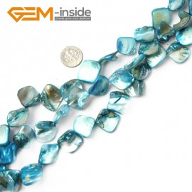 "G2391 Light Blue Free Shipping Freeform Sea Shell Loose Beads strand 15""Jewelery Making 15x20mm Natural Stone Beads for Jewelry Making Wholesale"