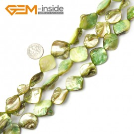 "G2394 Light Green Free Shipping Freeform Sea Shell Loose Beads strand 15""Jewelery Making 15x20mm Natural Stone Beads for Jewelry Making Wholesale"