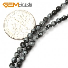"G2488 3mm Round Gemstone Black Snowflake Obsidian Beads Jewelry Making Stone Beads 15"" Natural Stone Beads for Jewelry Making Wholesale`"