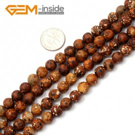 "G2505 8mm Round Wood Texture Agate Loose Beads Gemstone Strands 15"" 8-16mm Crafts Making Natural Stone Beads for Jewelry Making Wholesale"