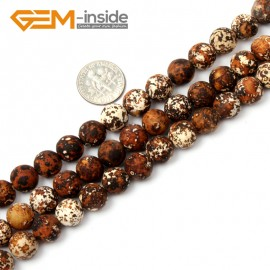 "G2506 10mm Round Wood Texture Agate Loose Beads Gemstone Strands 15"" 8-16mm Crafts Making Natural Stone Beads for Jewelry Making Wholesale"