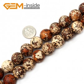 "G2509 16mm Round Wood Texture Agate Loose Beads Gemstone Strands 15"" 8-16mm Crafts Making Natural Stone Beads for Jewelry Making Wholesale"