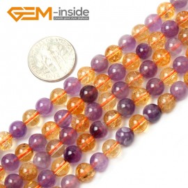 "G2540 6mm Round Amethyst Citrine Beads Jewelry Making Gemstone Loose Beads Strand 15"" Natural Stone Beads for Jewelry Making Wholesale`"