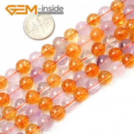 "G2541 8mm Round Amethyst Citrine Beads Jewelry Making Gemstone Loose Beads Strand 15"" Natural Stone Beads for Jewelry Making Wholesale`"