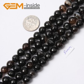 "G2555 8mm Round Faceted Gemstone Banded Onyx Agate Stone Loose Beads Jewelry Making 15"" Natural Stone Beads for Jewelry Making Wholesale`"