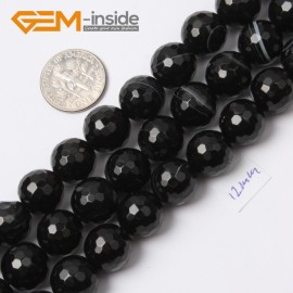 "G2557 12mm Round Faceted Gemstone Banded Onyx Agate Stone Loose Beads Jewelry Making 15"" Natural Stone Beads for Jewelry Making Wholesale`"