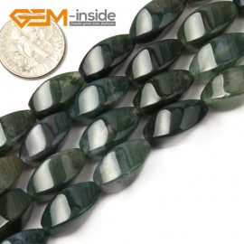 "G2586 Moss Agate Twisted Drum Loose Beads Strands 15"" Natural Gemstone 8x16mm Natural Stone Beads for Jewelry Making Wholesale"