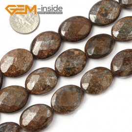 "G2623 15x20mm Oval Faceted Bronzite Gemstone Loose Beads Strand 15"" Jewelery Making Beads Natural Stone Beads for Jewelry Making Wholesale"