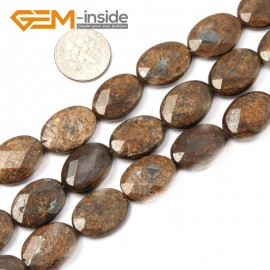 "G2624 13x18mm Oval Faceted Bronzite Gemstone Loose Beads Strand 15"" Jewelery Making Beads Natural Stone Beads for Jewelry Making Wholesale"