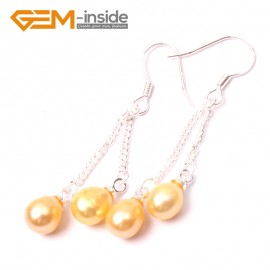 G2784 yellow Fashion Pretty 5-6mm x 7-8mm Pearl Dangle Earrings Silver Hooks Fashion Jewelry Ladies Earrings Fashion Jewelry Jewellery