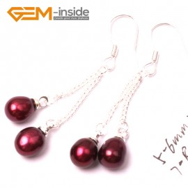 G2789 red Fashion Pretty 5-6mm x 7-8mm Pearl Dangle Earrings Silver Hooks Fashion Jewelry Ladies Earrings Fashion Jewelry Jewellery