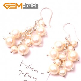 G2791 White Fashion 5-6mm x 7-8mm Freshwater Pearl Beads Dangle Earrings Fashion Jewelry Ladies Earrings Fashion Jewelry Jewellery