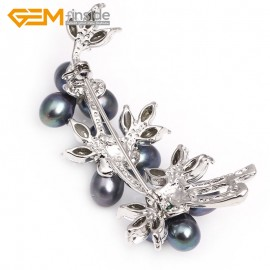 G2800 black  pretty pearl white gold plated flower brooch 25x60mm Brooch Pin Fashion Jewelry Jewellery