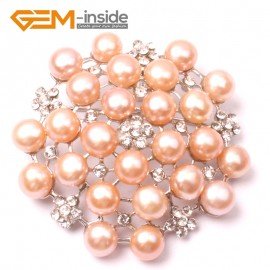G2812 pink nice pearl white gold plated peony flower brooch 48mm Brooch Pin Fashion Jewelry Jewellery