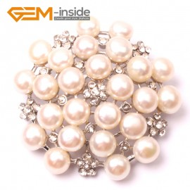 G2813 white nice pearl white gold plated peony flower brooch 48mm Brooch Pin Fashion Jewelry Jewellery