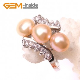 G2815 6-7mm pink fashion  pearl white gold plated ring US#6 -#9 Rings Fashion Jewelry Jewellery