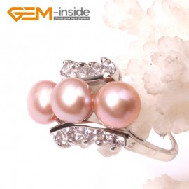 G2816 6-7mm purple fashion  pearl white gold plated ring US#6 -#9 Rings Fashion Jewelry Jewellery