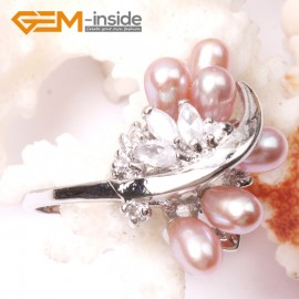 G2820 purple 6-7mm beautiful pearl with crystal white gold plated ring US size #6 - #7  Rings Fashion Jewelry Jewellery
