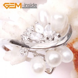 G2821 white 6-7mm beautiful pearl with crystal white gold plated ring US size #6 - #7  Rings Fashion Jewelry Jewellery