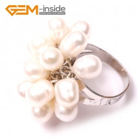 G2824 white 6-7mm pretty pearl silver plated ring US #7 - #6 Rings Fashion Jewelry Jewellery
