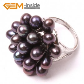 G2828 black 6-7mm fashion pearl silver plated ring US #7 - #6 Rings Fashion Jewelry Jewellery