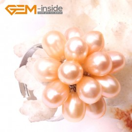 G2832 pink 5-6mm nice pearl white gold plated ring adjustable size Rings Fashion Jewelry Jewellery