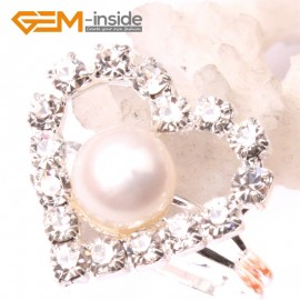 G2833 white 7-8mm pearl heart silver plated ring adjustable size Rings Fashion Jewelry Jewellery
