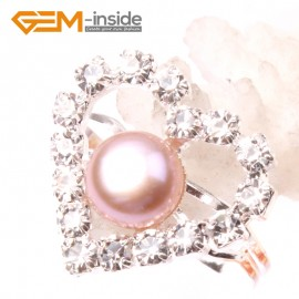 G2835 purple 7-8mm pearl heart silver plated ring adjustable size Rings Fashion Jewelry Jewellery