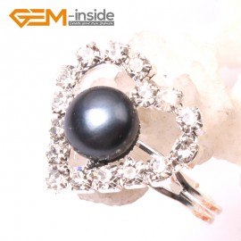 G2836 black 7-8mm pearl heart silver plated ring adjustable size Rings Fashion Jewelry Jewellery
