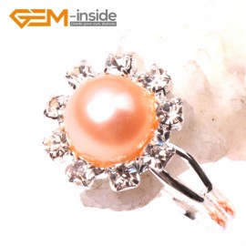G2837 pink 7-8mm pearl helianthus silver plated ring adjustable Rings Fashion Jewelry Jewellery