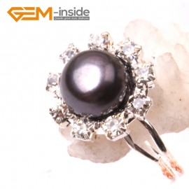 G2838 black 7-8mm pearl helianthus silver plated ring adjustable Rings Fashion Jewelry Jewellery