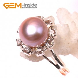 G2839 purple 7-8mm pearl helianthus silver plated ring adjustable Rings Fashion Jewelry Jewellery
