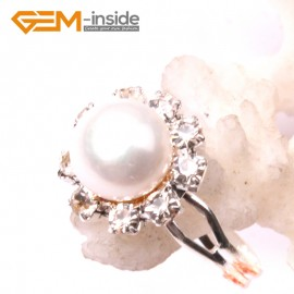 G2840 white 7-8mm pearl helianthus silver plated ring adjustable Rings Fashion Jewelry Jewellery